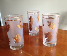 Set of 3 Libbey Gold Leaf Frosted Drinking by SpaceModyssey