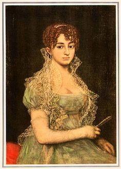 """Posible retrato de Lorenza Correa (hacia 1803), relacionado con un """"Retrato de señora con abanico, medio cuerpo"""" del inventario de los bienes de Goya redactado en 1828.1 Algunos catálogos lo ubican en una colección particular francesa y como obra de seguidor o escuela de Goya"""
