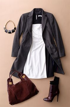 Love this look: Calvin Klein Colorblock Dress, Tweed Coat, Statement Necklace, and Ankle Boots