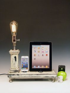 Dual Dock with lamp and wall chargers for ANY iPhone, iPod, iPad or Mini. Cottage Rustic. 633. Antique white. Edison bulb. on Etsy, $150.20 AUD
