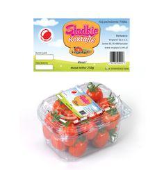 Projekt etykiety na punnety na pomidory koktajlowe, wyjątkowo słodkie - 250 g