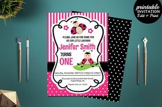 Girl Birthday invitation Template by Incredible Greeting Cards on @creativemarket