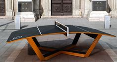 Teqball is a new sport equipment based on football (soccer), it's like a combination of a ping pong and football.