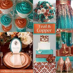 Great cilor inspiration for my living room pallette! Teal And Gold Wedding Table Teal and copper wedding colors Teal Color Schemes, Wedding Color Schemes, Color Combos, Color Patterns, Couleur Or Rose, Tiffany Rose, Teal And Gold, Rose Gold, Teal Coral