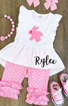 Girls Easter Personalized Outfits, Girls Easter Outfit, Girls Easter Dress, Baby, Toddler Easter Outfit, Easter Basket, Girls Capri Outfit #afflink #babygirloutfits