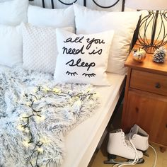 """""""All you need is sleep"""" .and hot chocolate, books, fuzzy, warm bed and. Get this handmade decor cushion at EVY HOME DECOR's webshop. Handmade Pillow Covers, Decorative Pillow Covers, Handmade Home Decor, Handmade Decorations, Bed Pillows, Cushions, Warm Bed, Cover Quotes, Décor Ideas"""