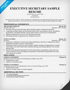 How To Write An Executive Resume 31 Best Executive Secretary Images On Pinterest  Executive .