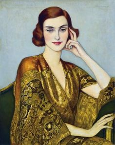 Istvan Zador (Hungarian, 1882-1963) : Lady in a golden silk kimono, 1932.