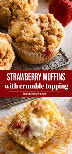 Enjoy strawberry season with these freshly baked Strawberry Crumble Muffins. Buttery crumble on top of muffins bursting with fresh strawberries. This simple recipe is perfect for breakfast or a nice snack! Muffin Recipes, Cupcake Recipes, Brunch Recipes, My Recipes, Baking Recipes, Breakfast Recipes, Snack Recipes, Favorite Recipes, Brunch Ideas