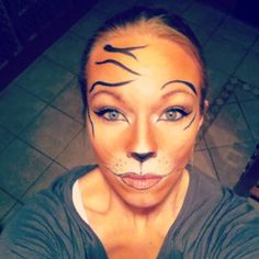 Tiger makeup--just the eyes mostly, not the mouth