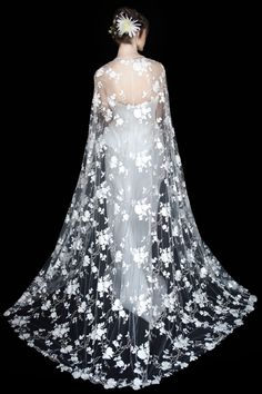 Embroidered full-length tulle cape by Alberta Ferretti.