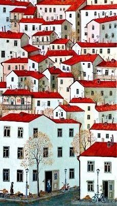 City by Zviad Gogolauri Building Illustration, City Illustration, Landscape Illustration, Landscape Art, Wal Art, Amsterdam Houses, Building Art, Naive Art, Cool Wallpaper