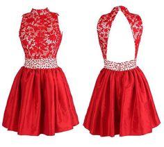 Glamorous High Neck Satin Homecoming/Prom Dresses With Beading ,Backless prom dress,Short dress,Sleeveless prom dress