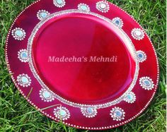 Mehndi Plates Uk : Round mehndi plates in luscious pink and gold. see my face book page