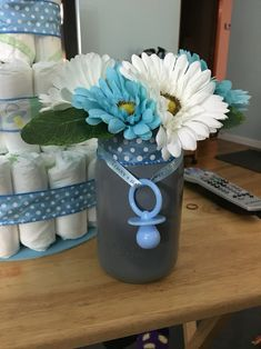 Finished Mason Jar Centerpiece For Boy Baby Shower.