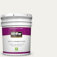 BEHR Premium Plus Home Decorators Collection 5-gal. #hdc-MD-06 Nano White Zero VOC Eggshell Enamel Interior Paint