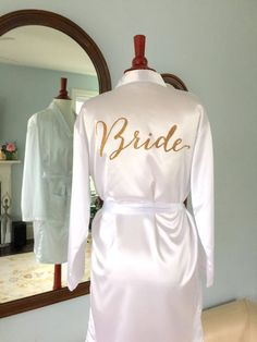 Gold Glitter Bridal Robe  Bride Bathrobe Satin by SixpencePress