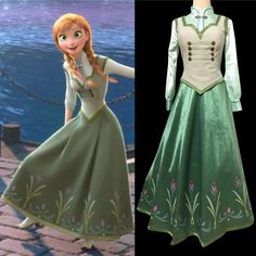Frozen : P380 COSPLAY FROZEN ANNA Princess Costume women ... Anna Frozen Costume, Anna Dress Frozen, Frozen Cosplay, Elsa Dress, Disney Cosplay, Disney Princess Dresses, Princess Costumes, Disney Dresses, Disney Outfits