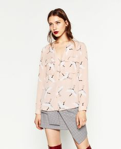 PRINTED BLOUSE WITH PLUNGING NECKLINE - Blouses-TOPS-WOMAN | ZARA United States