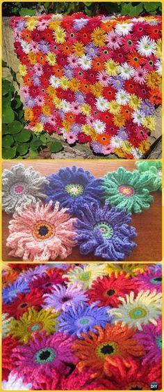 Crochet Gerbera Garden Blanket Paid Pattern - Crochet Daisy Flower Blanket Free Patterns