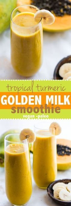 Tropical Turmeric Go Tropical Turmeric Golden Milk Smoothie! A paleo and vegan friendly smoothie packed with Anti-inflammatory boosting nutrients, fiber, healthy fats, and a whole lotta goodness! Easy to make for a healthy breakfast or anytime. Smoothies Vegan, Smoothie Fruit, Smoothie Packs, Breakfast Smoothies, Turmeric Smoothie, Milk Smoothies, Making Smoothies, Homemade Smoothies, Turmeric Tea