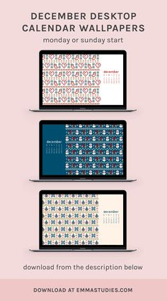 December Knitted Christmas Calendar Wallpapers by studygram emmastudies