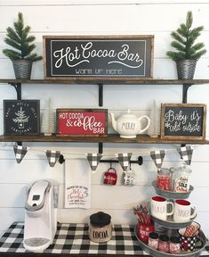 Coffee Bar Ideas - Looking for some coffee bar ideas? Here you'll find home coffee bar, DIY coffee bar, and kitchen coffee station. Farmhouse Christmas Decor, Rustic Christmas, Christmas Home, Farmhouse Decor, White Christmas, Farmhouse Small, Farmhouse Ideas, Christmas Cactus, Christmas Music
