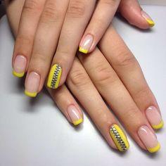 Yellow French nail art with rhinestones :: one1lady.com :: #nail #nails #nailart #manicure