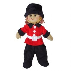 Lovely toy soldier rag doll will look great on a little one's bed, and be a sweet soft toy friend