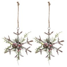 Twig Snowflake Ornaments with Berries