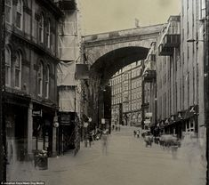 Echoes of history: A street scene in modern Newcastle city centre near the Quayside area taken by Jonathan Keys using the collodion process - an archaic photographic method