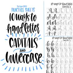 Hand Lettering Practice Sheets 10 Ways to by ThePigeonLetters Lettering Practice Sheets, Hand Lettering Fonts, Creative Lettering, Lettering Tutorial, Handwriting Fonts, Penmanship, Chalk Typography, Lettering Ideas, Vintage Typography