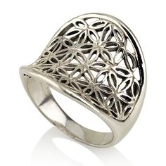Concave Flower of Life Ring Sterling Silver 925 Sacred Geometry Seed of Life #MAGAYA #SacredGeometry