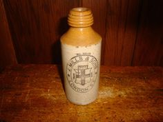 J. Mills & Sons S.E. London Old English Stoneware Ginger Beer Bottle Two Tone