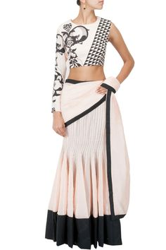 Blush pre stitched pleated sari with printed one sleeve blouse available only at…