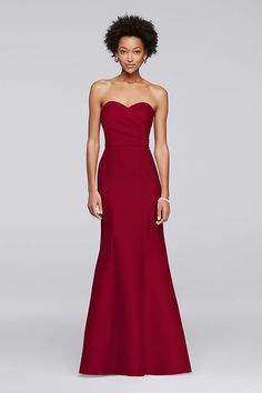 Structured silky mikado evokes Hollywood glamour from the strapless pleated bodice to the fit-to-flare skirt of this long bridesmaid dress. Polyester Back zipper; fully lined Dry clean Imported A