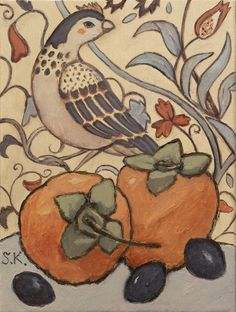 Small size paintings with fruits and vegetables on charming vintage wallpaper background. #svetlanakurmazart #modernart #prague #narrativeart #owl #figurative #womanartist #svetlana_kurmaz #becreative #designinterior #designyourhome #designyourlife #art #modern #lifestyle #artfromprague #bird #svetlanakurmaz #светланакурмаз #pears #wallpaper #william_morris William Morris Wallpaper, Morris Wallpapers, Oil Painting On Canvas, Canvas Art, Local Color, Design Your Life, Small Canvas, Art Deco Fashion, Pattern Wallpaper