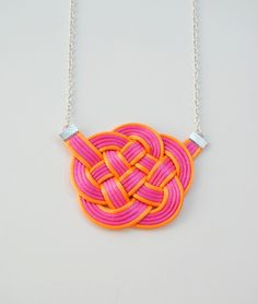 Pink and Orange Cloud Knot Necklace, Neon Rope Jewelry, Satin Cords, Summer Trends, Beach, Bright, Colourful.