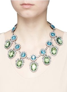 KENNETH JAY LANE OVAL PENDANT GLASS CRYSTAL PAVÉ STATION NECKLACE PRODUCT CODE   503052966