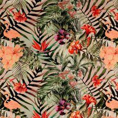Halbpanama, Blätter/Blumen/Flamingo