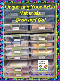 Great way to Organize for Grab and Go Speech Therapy plus an activity freebie too! www.speechsprouts...