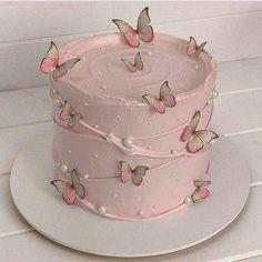 Butterfly Birthday Cakes, Pretty Birthday Cakes, Cute Birthday Cakes, Pretty Cakes, Pastel Cakes, Quinceanera Cakes, Crazy Cakes, Cute Desserts, Dream Cake