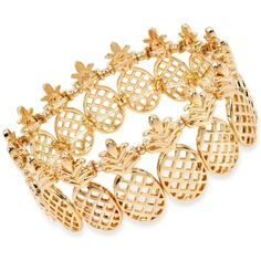 M. Haskell for Inc International Concepts Gold-Tone Pineapple Stretch... (€18) ❤ liked on Polyvore featuring jewelry, bracelets, gold, gold tone jewelry, goldtone jewelry, gold tone bangles, gold colored jewelry and stretch jewelry