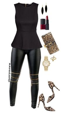"""Black and leopard sassy outfit"" by cherrysnoww ❤ liked on Polyvore featuring H&M, Rivka Friedman, Nly Shoes, Yves Saint Laurent, Michael Kors and NARS Cosmetics"