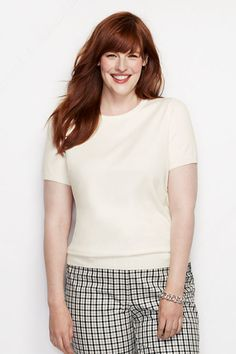 Women's Supima Short Sleeve Sweater from Lands' End