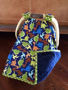 Baby Car Seat Covers  DINO Dudes in Blue with by kitcarsonblue, $49.50