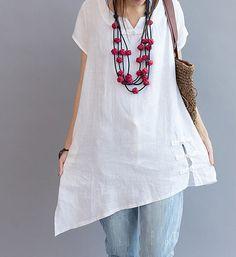 Asymmetrical summer shirt/ Plus size casual short sleeved shirt/ white shirt/ jacinth shirt