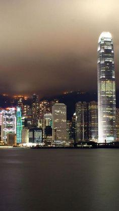 Hong kong, Night View, City, Landscape, Shoreline, Skyscraper
