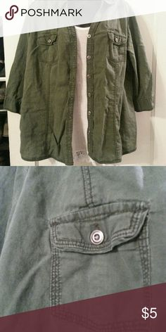 Army green button down 55% linen 45% cotton.  Sleeves come to just above elbows.  Strap and button to hold up sleeves. Army green Sonoma Tops