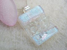 White and dichroic silver fused glass texture by FoxWorksStudio